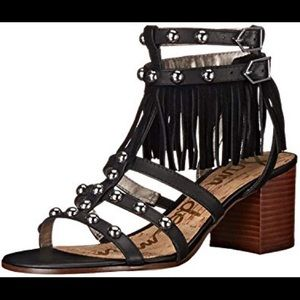 Sam Edelman Fringe Tassel Black Studded Sandals 9